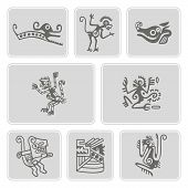 Постер, плакат: set of monochrome icons with American Indians relics dingbats characters part 2