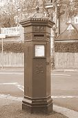 Victorian Mail Box In Sepia