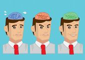 foto of mental_health  - Cartoon vector illustration showing mental states and emotions of adult man - JPG