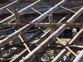 image of concrete  - powerful reinforced concrete structure with metal beams and concrete pillars - JPG