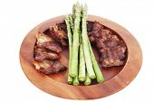 pic of white asparagus  - dinner of hot grilled beef meat ribs served with asparagus on wooden plate isolated on white background - JPG