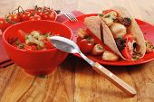 pic of tacos  - big mexican taco with tomatoes and mushroom - JPG