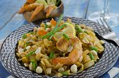 picture of rice noodles  - pad thai rice noodles with a fork - JPG
