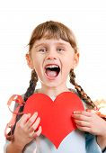 picture of girlie  - Cheerful Little Girl with a Heart Shape Isolated on the White Background - JPG
