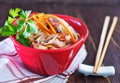 pic of rice noodles  - rice noodles with meat and vegetables in bowl - JPG