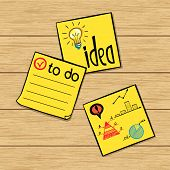 image of memory stick  - Three hand drawn classic yellow paper stickers with doodle sketches and notes on them - JPG