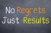 picture of just say no  - A motivational saying that we should have no regrets only results - JPG