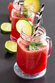stock photo of refreshing  - Delicious and refreshing watermelon and lime drink