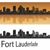 picture of florida-orange  - Fort Lauderlade skyline in orange background in editable vector file - JPG