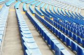foto of grandstand  - Empty blue seats in stadium - JPG