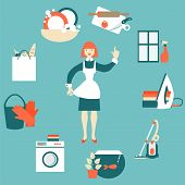 image of cleaning house  - House work concept vector illustration - JPG