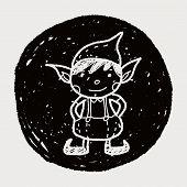 image of elf  - Christmas Elf Doodle - JPG