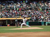 Dallas Braden Throws Pitch From Mound