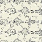 foto of marines  - Abstract seamless pattern of marine life - JPG