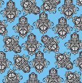stock photo of hamsa  - Vector Indian hand drawn hamsa symbol seamless pattern - JPG