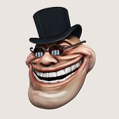 foto of troll  - laughing internet troll spectacled 3d illustration isolated - JPG