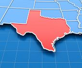 foto of texas map  - 3d render of USA map with Texas state highlighted in red - JPG