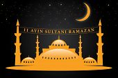 pic of ramadan calligraphy  - Welcome Ramadan Islamic Calligraphy of shiny text Ramadan Kareem or Ramadan with silhouette of Mosque or Masjid in moon light night background - JPG