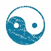 pic of ying yang  - Grunge blue icon with image of ying yang - JPG