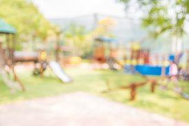 image of playground school  - Defocused and blur image of children - JPG