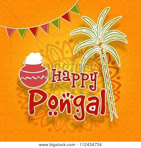 South indian harvesting festival happy pongal celebration greeting south indian harvesting festival happy pongal celebration greeting card with sugarcane and traditio poster m4hsunfo