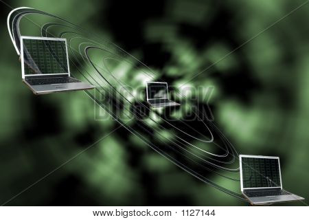 Picture or Photo of Illustration of the technological black hole and emptiness of electronic univerce