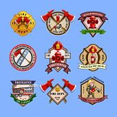 Постер, плакат: Firefighters Emblems Labels Collection