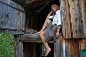 Woman in a barn