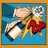 opening champagne bottle pop art retro style poster