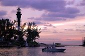 dawn at the hillsboro inlet and lighthouse in pompano beach florida