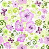 Spring Repeating White Floral Pattern