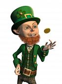 Lucky Leprechaun Flipping A Coin
