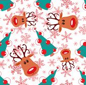 stock photo of rudolph  - Seamless christmas pattern - JPG