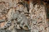 stock photo of belur  - A section from the world famous hoysala architecture in India