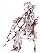 Vector illustration on an hand drawing representing a violoncellist