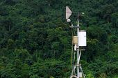 Antenna Of Meteorological Weather Station With Meteorology Sensors And Forest In Background. Weather poster