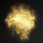 Gold Glitter Spray Effect Of Sparkling Particles On Vector Transparent Background poster