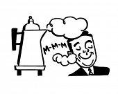 Man Smelling Fresh Coffee - Retro Clipart Illustration