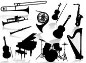 pic of musical instruments  - Musical instruments silhouette to represent music world - JPG