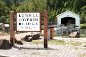Lowell covered bridges sign.