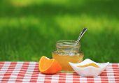 Pote de geléia de laranja no jardim de Verão