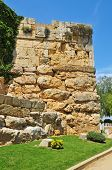 A view of Minerva Tower in monumental roman walls in Tarragona, Spain