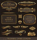 Golden decorative vector design elements & page decor