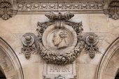Architectural details of Opera National de Paris. Grand Opera Garnier Palace is famous neo-baroque b poster