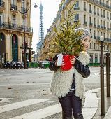 Trendy Girl In Paris, France Looking Out From Christmas Tree poster