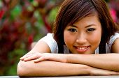 image of asian woman  - Portrait of a beautiful asian woman in the garden - JPG