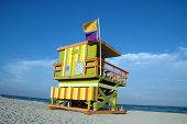 View Of Lifeguard Tower And Beach In Miami South Beach