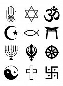 A set of Religious symbols. Black silhouettes isolated on white. Also available in EPS10 vector form