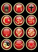A set of Religious symbol web buttons. Gold isolated on black. Also available in vector format.