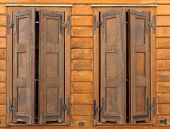 Brown Wooden Shutters In House Of Wood